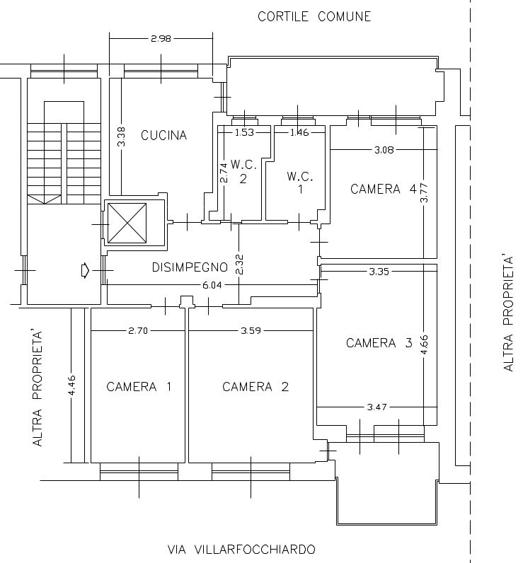 Planimetria via Villarfocchiardo 19, 3 piano